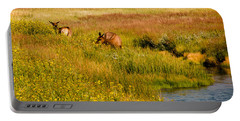 Elk In The Wild Flowers Portable Battery Charger by Cathy Donohoue