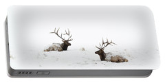 Elk Laying In A Snow Covered Meadow - 9069 Portable Battery Charger