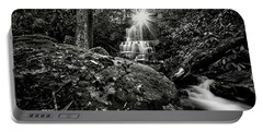 Elora Falls In Black And White Portable Battery Charger