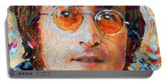 John Lennon Portrait Impasto Portable Battery Charger