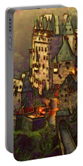 Portable Battery Charger featuring the digital art Eltz Castle by Michael Cleere