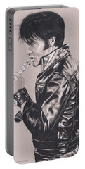 Elvis In Charcoal #177, No Title Portable Battery Charger