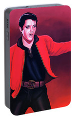 Elvis Presley 4 Painting Portable Battery Charger by Paul Meijering