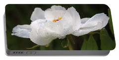 Embracing The Rain - White Tree Peony Portable Battery Charger by Gill Billington