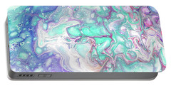 Emerald And Amethyst  Fragment 7.  Abstract Fluid Acrylic Painting Portable Battery Charger