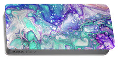 Emerald And Amethyst  Fragment 9.  Abstract Fluid Acrylic Painting Portable Battery Charger