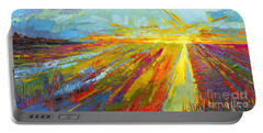 Emerald Dreams Modern Impressionist Oil Painting  Portable Battery Charger