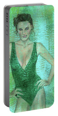 Emerald Greem Portable Battery Charger by P J Lewis