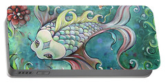 Emerald Koi Portable Battery Charger by Shadia Derbyshire