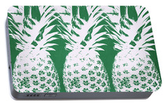 Portable Battery Charger featuring the mixed media Emerald Pineapples- Art By Linda Woods by Linda Woods
