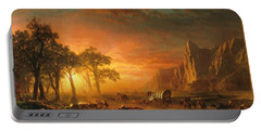 Portable Battery Charger featuring the photograph Emigrants Crossing The Plains - 1867 by Albert Bierstadt