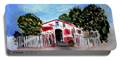 Portable Battery Charger featuring the painting Emiles Road Side Grocer by Donna Walsh
