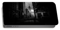 Portable Battery Charger featuring the photograph Empire State Building Bw by Marvin Spates