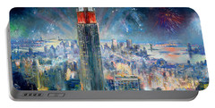 Empire State Building In 4th Of July Portable Battery Charger by Ylli Haruni