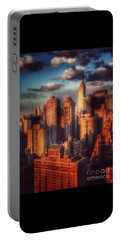 Portable Battery Charger featuring the photograph Empire State In Gold by Miriam Danar
