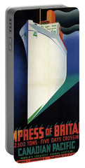 Empress Of Britain - Canadian Pacific - Steamship - Retro Travel Poster - Vintage Poster Portable Battery Charger