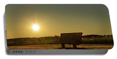 Portable Battery Charger featuring the photograph Empty Cavendish Beach Bench by Chris Bordeleau