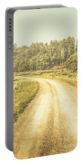 Empty Curved Gravel Road In Tasmania, Australia Portable Battery Charger