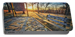Portable Battery Charger featuring the photograph Empty Park Bench - Sunset At Lapham Peak by Jennifer Rondinelli Reilly - Fine Art Photography