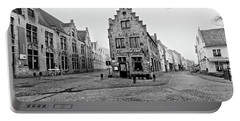 Empty Streets In Bruges On A Misty Morning Portable Battery Charger