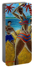 Portable Battery Charger featuring the painting En Luquillo Se Goza by Oscar Ortiz
