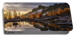 Enchantments Golden Sunrise Larches Reflection Portable Battery Charger by Mike Reid