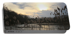 End Of Day At The Lake Portable Battery Charger by Dora Sofia Caputo Photographic Art and Design