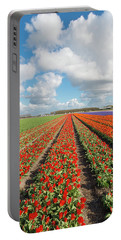 Endless Rows Of Blooming Tulips Portable Battery Charger