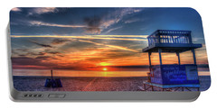 Portable Battery Charger featuring the photograph Endless Summer Sunrise Lifeguard Stand Tybee Island Georgia Art by Reid Callaway