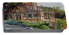 Portable Battery Charger featuring the painting Engelheim In The Morning - Vineyard - Ellijay, Ga by Jan Dappen
