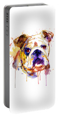 Portable Battery Charger featuring the mixed media English Bulldog Head by Marian Voicu