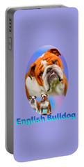 English Bulldog With Border Portable Battery Charger