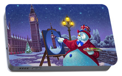 English Snowman Portable Battery Charger by Michael Humphries