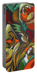Portable Battery Charger featuring the painting Enjoying Food And Drink by Leon Zernitsky