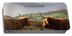 Enjoying The View - Highland Cattle Portable Battery Charger