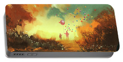Portable Battery Charger featuring the painting Enter The Fantasy Land by Tithi Luadthong