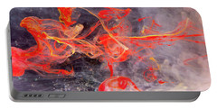 Epigenesis - Red Abstract Art Photography Portable Battery Charger by Modern Art Prints
