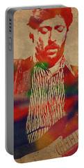 Eric Clapton Watercolor Portrait Portable Battery Charger