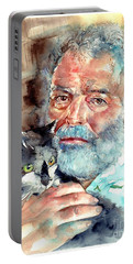 Ernest Hemingway Watercolor Portable Battery Charger