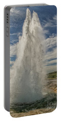 Erupting Geyser In Iceland Portable Battery Charger