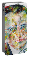 Portable Battery Charger featuring the painting Erwin Schrodinger - Watercolor Portrait by Fabrizio Cassetta