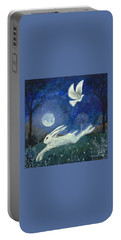 Portable Battery Charger featuring the painting Escape With A Blessing by Lise Winne
