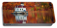 Esopus Lighthouse In Late Fall #2 Portable Battery Charger by Jeff Severson