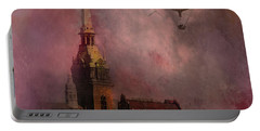 Portable Battery Charger featuring the digital art Stockholm Church With Flying Balloon by Jeff Burgess