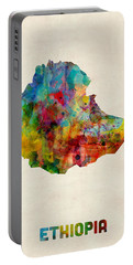 Portable Battery Charger featuring the digital art Ethiopia Watercolor Map by Michael Tompsett