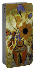 Portable Battery Charger featuring the painting Etrusian Vase With Flowers by Odilon Redon
