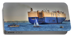 Portable Battery Charger featuring the photograph Eukor Car Carrier Ship - Boston Harbor by Joann Vitali