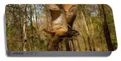 Eurasian Eagle Owl In Flight Portable Battery Charger by Chris Flees