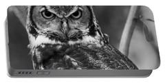 Eurasian Eagle Owl Monochrome Portable Battery Charger