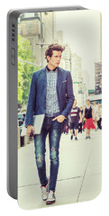 European College Student Studying In New York Portable Battery Charger